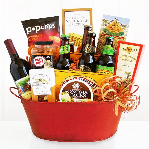 Get the Party Started Wine and Beer Gift Basket